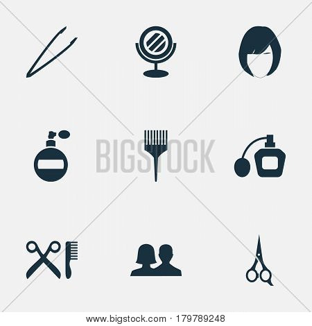 Vector Illustration Set Of Simple Salon Icons. Elements Fragrance, Customers, Perfume And Other Synonyms Eyebrow, Beauty And Fragrance.