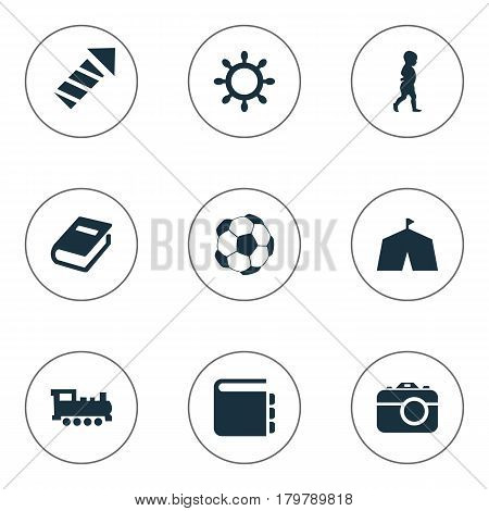 Vector Illustration Set Of Simple Kid Icons. Elements Soccer, Rudder, Sparkler And Other Synonyms Show, Railway And Dictionary.