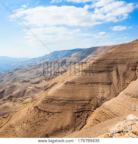 Brown Mountains In Valley Of Wadi Mujib River