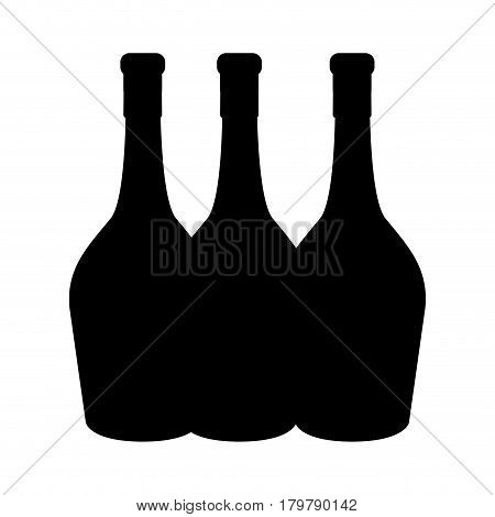 black contour wine bottles taste beverage, vector illustration design