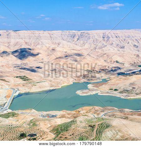 Above View Of Wadi Mujib River And Al Mujib Dam