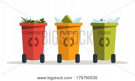 set of vector colored bins to sort the trash: compost, plastic, glass vector illustration on white background