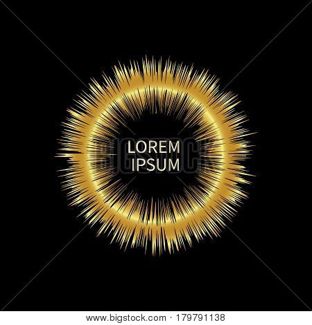 Abstract gold empty frame in shape of exploding stars sun with sharp rays isolated. Bright shine. Colorful golden shining template for banner tag border label. Vector illustration.