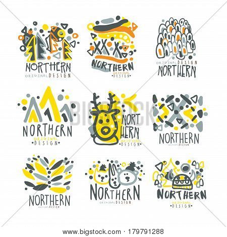 Nothern set for label design. Winter vacations, sports, active lifestyle, hunting colorful vector Illustrations for use in the tourist industry