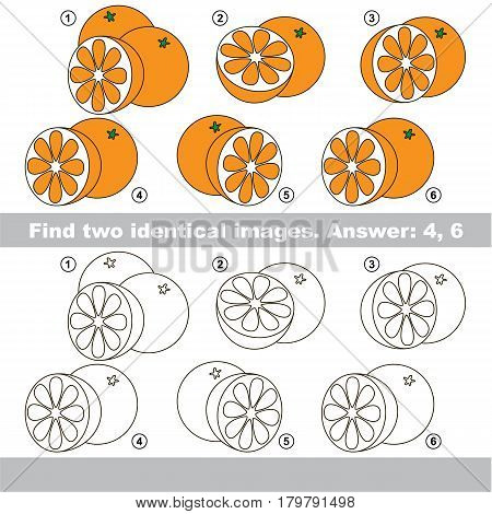The educational kid matching game for preschool kids with easy gaming level, he task is to find similar objects, to compare items and find two same Oranges with Slice.