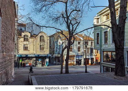PLOVDIV, BULGARIA - JANUARY 2 2017: Street in district Kapana, city of Plovdiv, Bulgaria