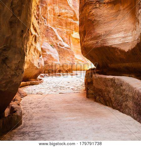 Al Siq Passage In Gorge To Ancient Petra City