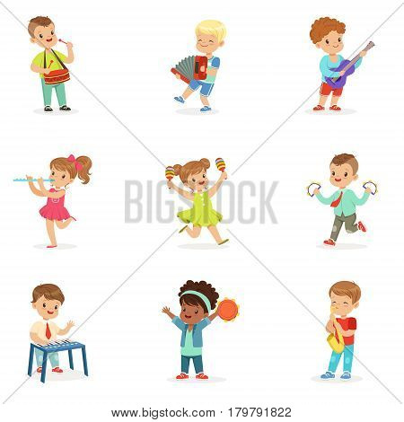 Cute children dancing and playing musical instruments, set for label design. Education and child development. Cartoon detailed colorful Illustrations isolated on white background
