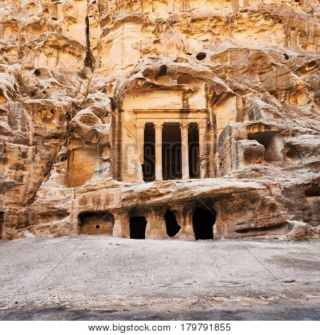 Nabatean Temple In Little Petra Town