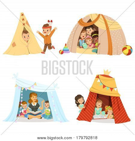 Cute little children playing and sitting in a tent teepee, set for label design. Funny lovely children having fun in children room. Cartoon detailed colorful Illustrations isolated on white background