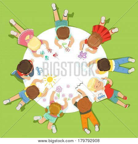 Lying little children painting on a big round paper. Education and child development. Cartoon detailed colorful Illustration isolated on green background