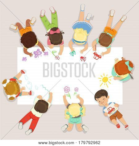 Cute litttle kids lying and drawing on big paper. Education and child development. Cartoon detailed colorful Illustration