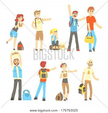 Hitchhiker standing with backpack and bag, set for label design. Hitch hike traveler person. Travel hitchhiking concept. Cartoon detailed colorful Illustrations isolated on white background