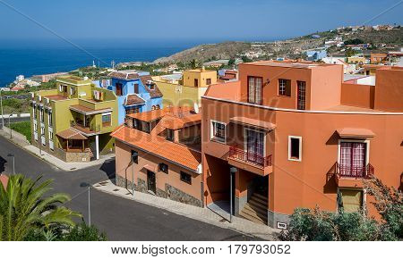 Typical colorful Canary islands local's houses. Icod de los Vinos, Tenerife, Spain.