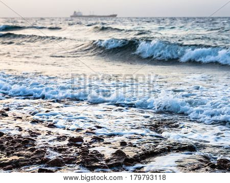 Surf On Gulf Of Aqaba Shore On Red Sea In Winter