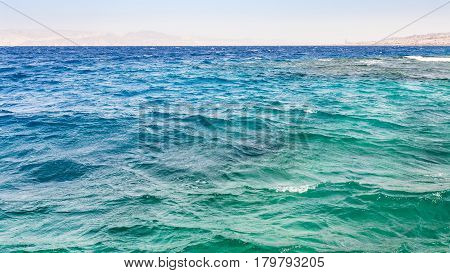 Waves On Surface Of Gulf Of Aqaba On Red Sea