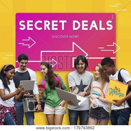 Diverse people secrete deals graphics