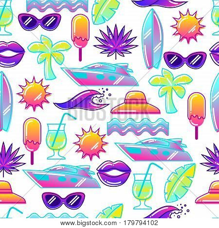 Seamless pattern with stylized summer objects. Abstract illustration in vibrant color.