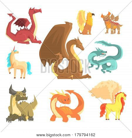 Mythological animals, set for label design. Dragon, unicorn, pegasus, griffin, cartoon detailed Illustrations isolated on white background
