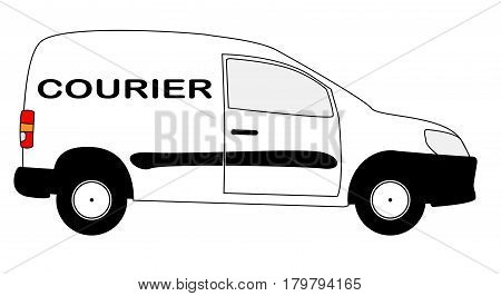 A small white courier delivery van with copy space isolated on a white background
