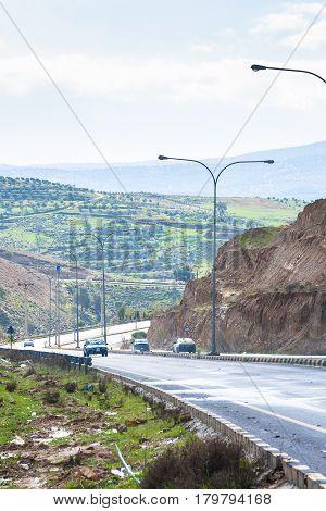 Country Road Between Hills In Jordan