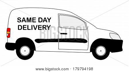 A small white same day delivery van with copy space isolated on a white background