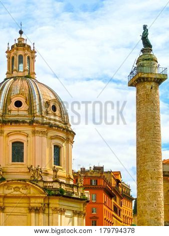 Marco Aurelio column in Piazza Colonna in Rome at Italy