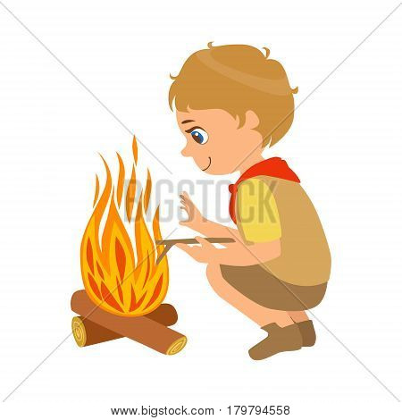 Boy scout squatting near the bonfire, a colorful character isolated on a white background