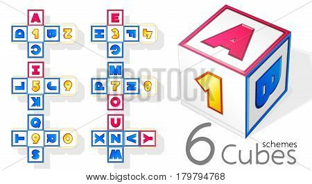 Paper cubes schemes for English letters and numbers.