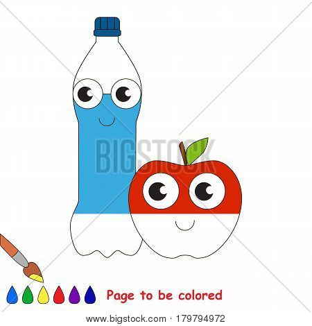 Water Bottle and Apple, the coloring book to educate preschool kids with easy gaming level, the kid educational game to color the colorless half by sample.