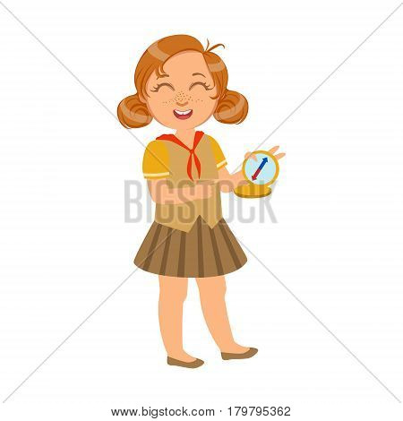 Happy and laughing scout girl with a compass, a colorful character isolated on a white background