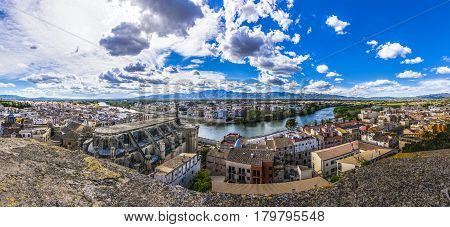 Panoramic view of Cathedral and Ebro river from Suda castle. Tortosa , Catalonia, Spain
