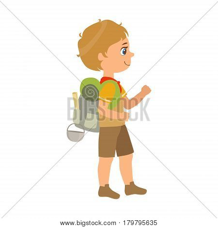 Girl scout carrying a backpack, side view, a colorful character isolated on a white background