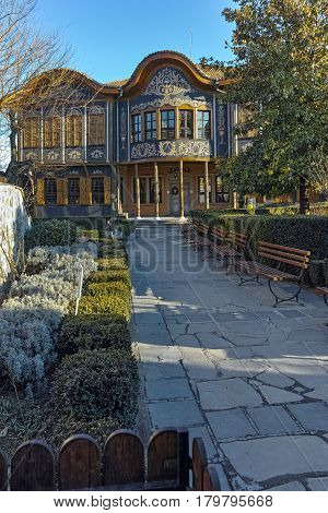 PLOVDIV, BULGARIA - JANUARY 2 2017: Building of Ethnographic Museum in old town of Plovdiv, Bulgaria