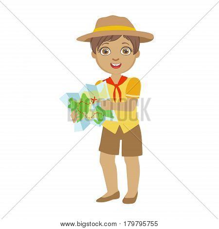 Cute boy scout holding a tourist map, a colorful character isolated on a white background, a colorful character isolated on a white background