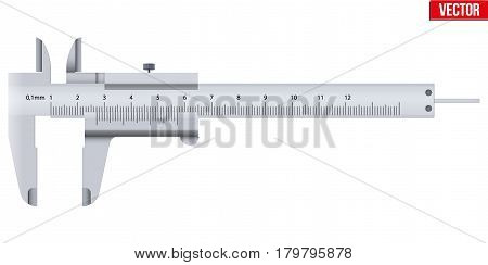 The Vernier caliper and scale. Measuring tool and wquipment. Editable Vector Illustration isolated on white background.