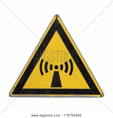 Attention electromagnetic radiation. Radiation hazard. Yellow triangle. Sign for collage on white background