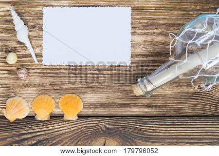 bottle with a message on the table and a blank picture