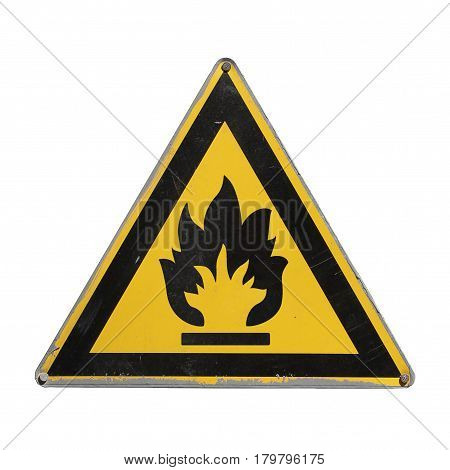 Flammable. Yellow triangle. Sign for collage on white background