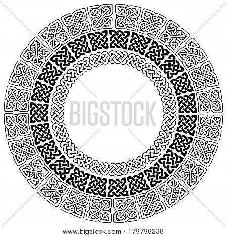 Mandala style Celtic style endless knot symbols in white on black background in 3 circles with vary shapes inspired by Irish St Patrick's Day, and Irish and Scottish carving art