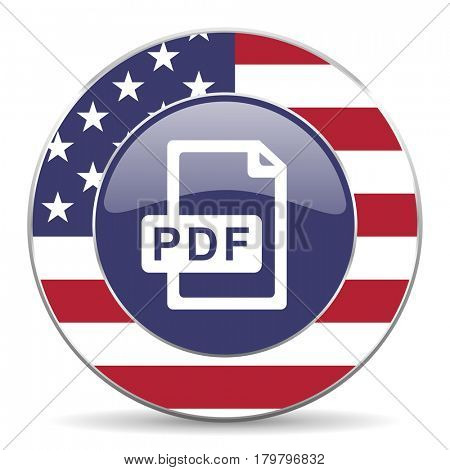 Pdf file usa design web american round internet icon with shadow on white background.
