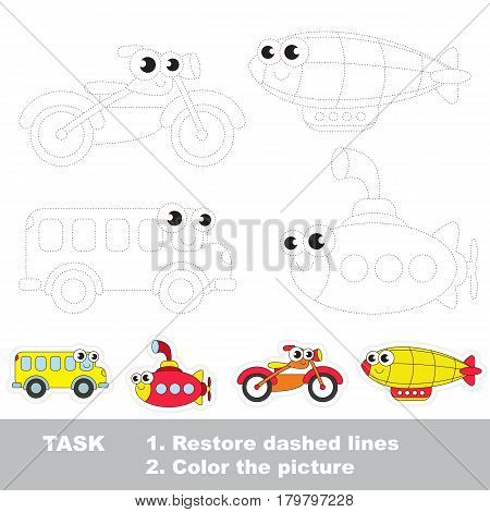 Transport bus and submarine, and motorcycle and zeppelin. Dot to dot educational game for kids.