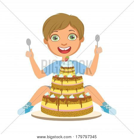 Young boy with birthday cake, a colorful character isolated on a white background