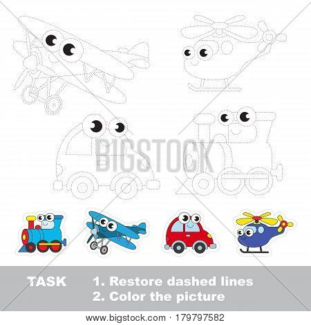 Locomotive and biplane and car and helicopter. Dot to dot educational game for kids.