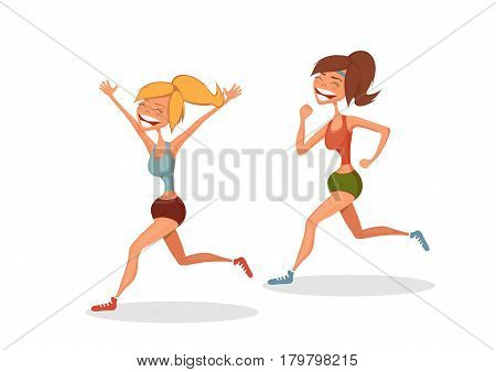 Funny running girls. Cartoon vector isolated character.