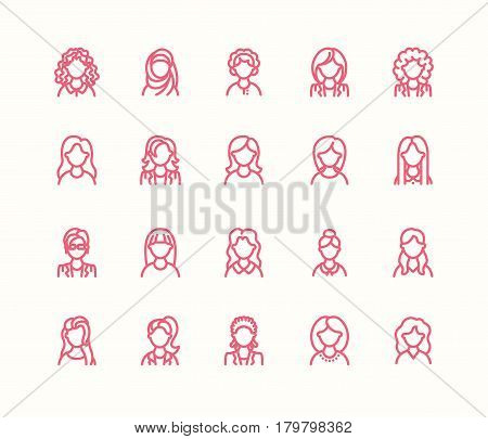 People line icons, business woman avatars. Outline symbols of female professions, secretary, manager, teacher, student. Young girls thin linear signs.