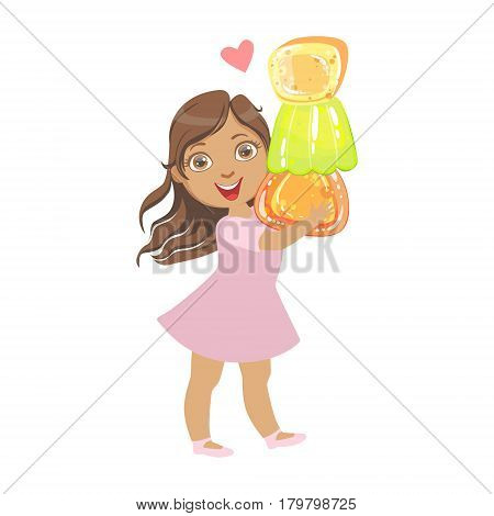 Little girl carring a colorful citrus jelly, a colorful character isolated on a white background