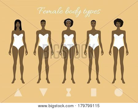 Set of African Female Body Shape Types: Triangle, Inverted Triangle, Hourglass, Rectangle, Round