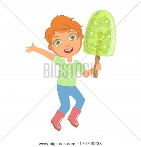 Smiling boy holding a big green fruit ice cream, a colorful character isolated on a white background