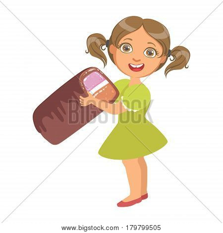 Little girl wearing in a green dress holding a big candy, a colorful character isolated on a white background